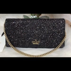 Kate Spade Laurel Way Glitter Milou Clutch Black